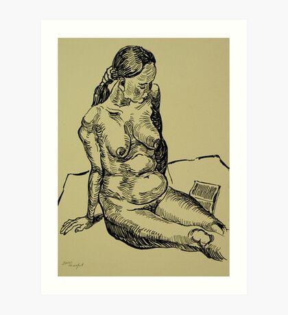 Reading naked woman Art Print
