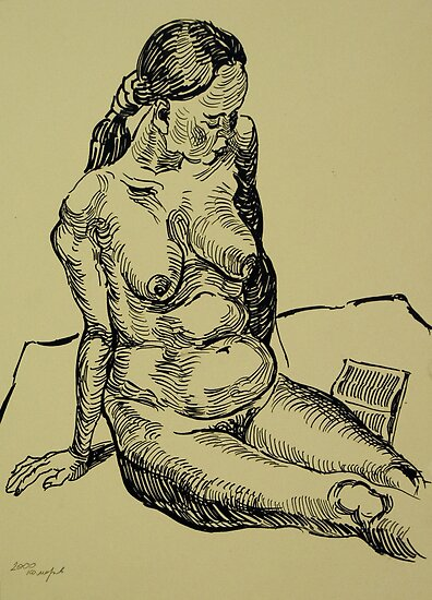 Reading naked woman by Vitali Komarov