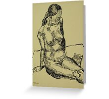Reading naked woman Greeting Card