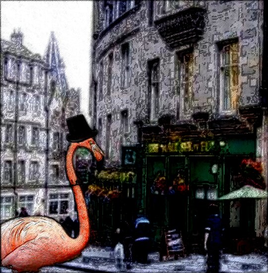 Pink Flamingo On the Town by Arletta