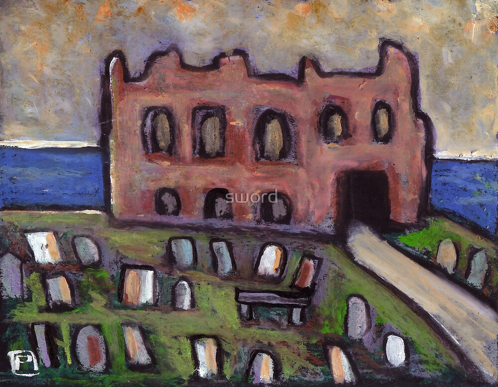The old priory and graveyard by sword