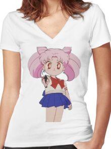 chibiusa holding a gun  Women's Fitted V-Neck T-Shirt