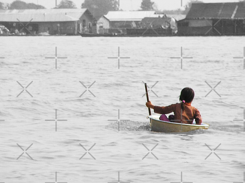Village Girl in a Tub at Tonle Sap by fatfatin