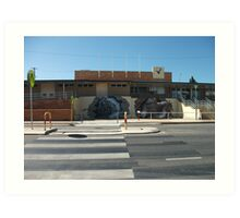 Broken Hill train stn artist Geoff de Main Art Print
