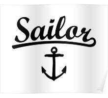 Sailor Anchor Black Poster