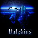 Dolphins Jumping Out of Ocean by an Iceberg by Bob Davies