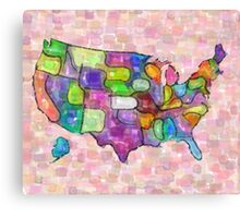 America map in water color Canvas Print