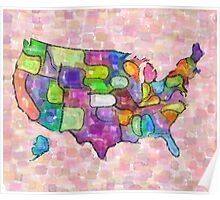 America map in water color Poster