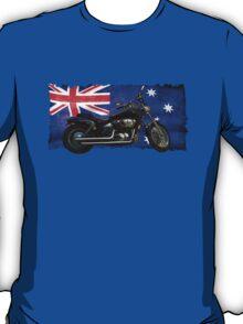 Australian Downunder Flag, Motorcycle Biker Design T-Shirt