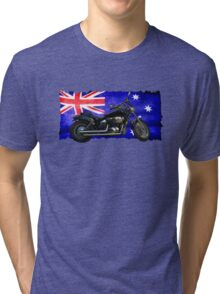 Australian Downunder Flag, Motorcycle Biker Design Tri-blend T-Shirt