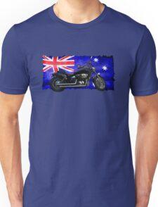Australian Downunder Flag, Motorcycle Biker Design Unisex T-Shirt