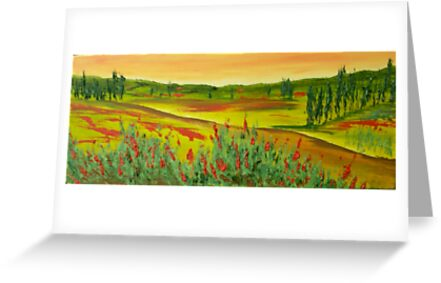 Tuscan Poppy Colours 20x 9 inches by Pauline Dunleavy