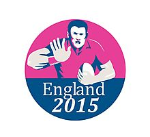 Rugby Player Fending England 2015 Circle Photographic Print