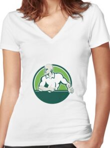 Rugby Player Running Ball Circle Retro Women's Fitted V-Neck T-Shirt