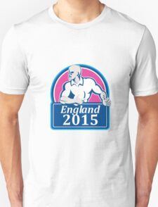 Rugby Player Running Ball England 2015 Retro Unisex T-Shirt