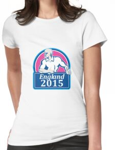 Rugby Player Running Ball England 2015 Retro Womens Fitted T-Shirt
