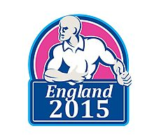 Rugby Player Running Ball England 2015 Retro Photographic Print