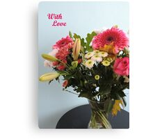 Fuchsia, White & Teal With Love Canvas Print