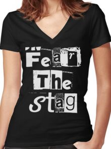 Fear the stag  Women's Fitted V-Neck T-Shirt