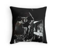 The earth and water reclaims these old ore hoppers in an abandoned tungsten mine. Cumbria. Throw Pillow