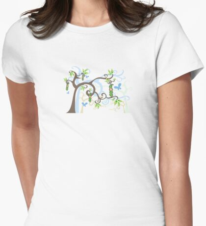 Magic Trees and Baby Boy in a Pod Womens Fitted T-Shirt
