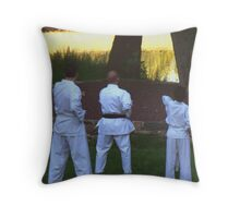 Karate in the Park Throw Pillow