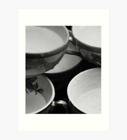 tea cups and rain Art Print