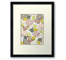 Pink Floral Potpourri Garden & Birds Framed Print