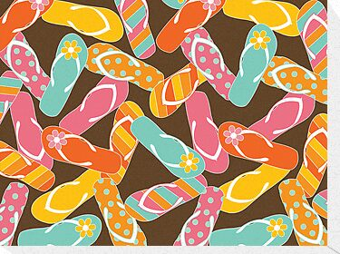 Colorful Summer Fun Flip Flops by fatfatin