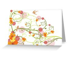 Yellow Hibiscus Swirls and Birds Greeting Card