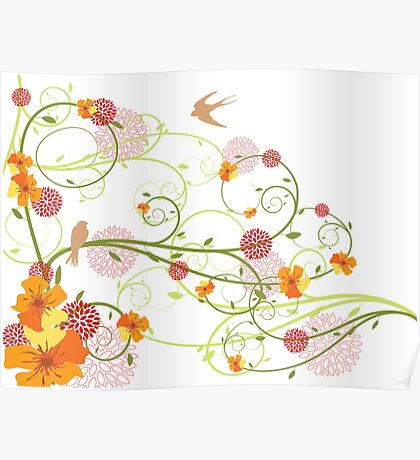 Yellow Hibiscus Swirls and Birds Poster