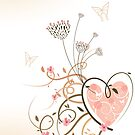 Pink Heart & Floral Swirls by fatfatin