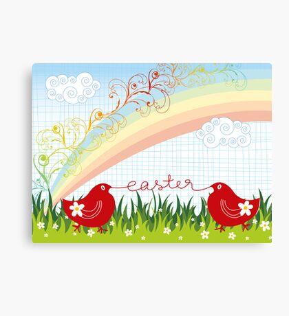 Easter Chicks & Rainbow Canvas Print
