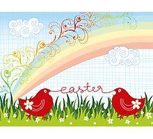 Easter Chicks & Rainbow Photographic Print