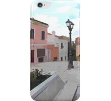 Island La Maddalena: view square statue and buildings iPhone Case/Skin