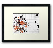 Orange Flowers & Chicks Scrapbook Doodles Framed Print