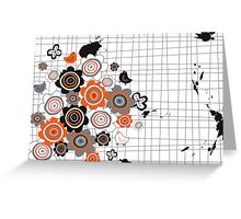 Orange Flowers & Chicks Scrapbook Doodles Greeting Card