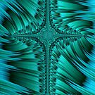 Green Cross Abstract by John Edwards