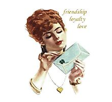 Beautiful Young Woman Holding Love Letter Vintage Vector Photographic Print