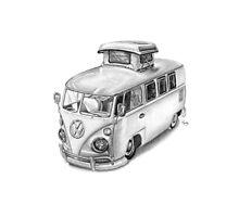VW Type 2 Bus Split Screen Pop Top Photographic Print