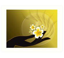 Buddha's Hand and White Hibiscus Art Print
