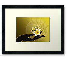 Buddha's Hand and White Hibiscus Framed Print