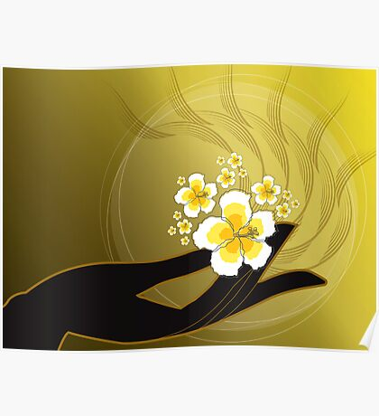 Buddha's Hand and White Hibiscus Poster