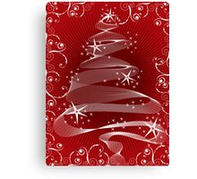 Abstract Red X'mas Tree and Swirls Canvas Print