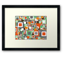 Retro Orange and Mint Squares Pattern Framed Print