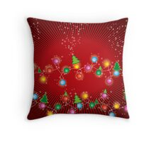 Sparkling Mini X'mas Tree Lights Throw Pillow