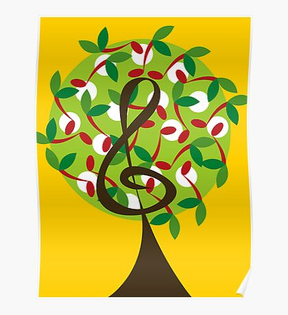 Musical Cherry Notes Tree Poster