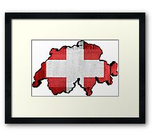 Switzerland Map Flag Framed Print