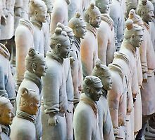 Terracotta Soldiers at attention by clayjars