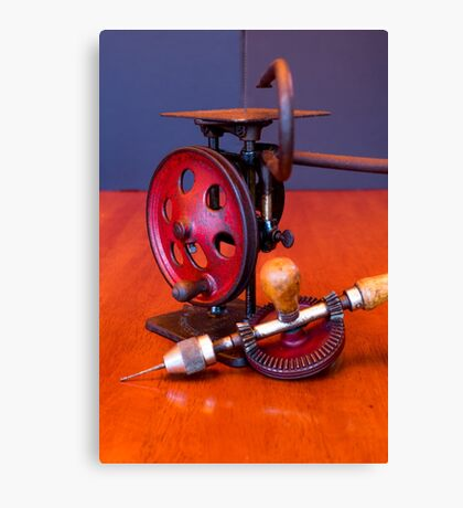Vintage American Made Woodworking Scroll Saw And Hand Drill Canvas Print
